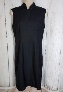 J. Peterman 10 Silk Asian Style Black Dress